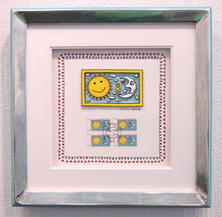 Herzliche Grüße (Briefmarke, Sonne), im Vergolderrahmen II