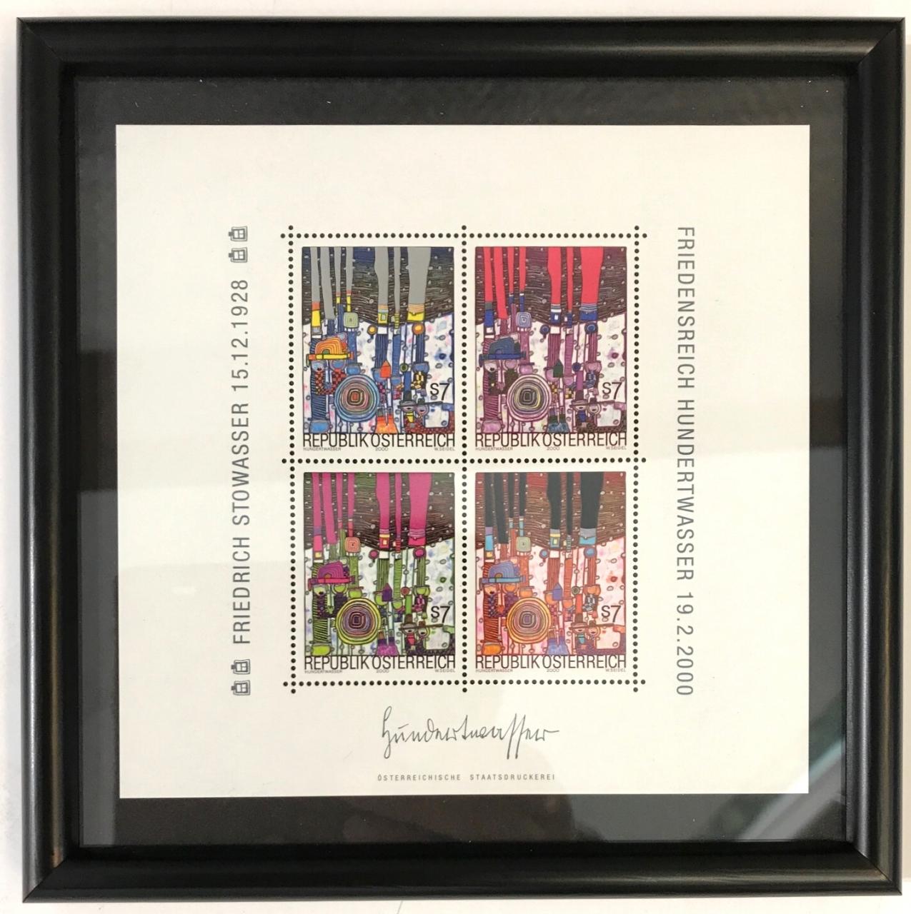 Briefmarkenset, gerahmt