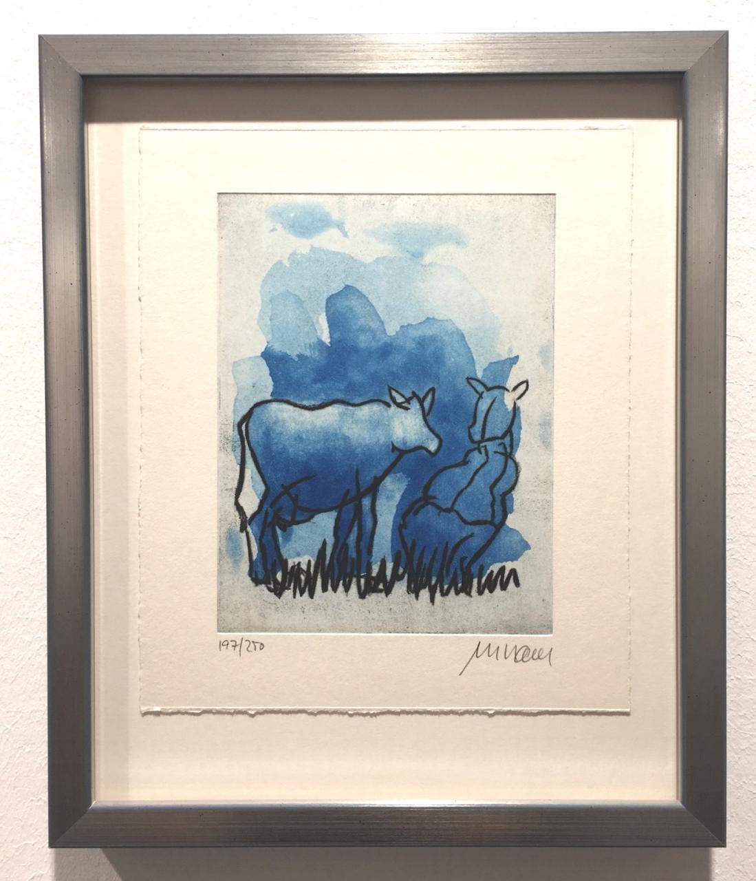 Die Blaue Kuh (Auf der Weide), gerahmt