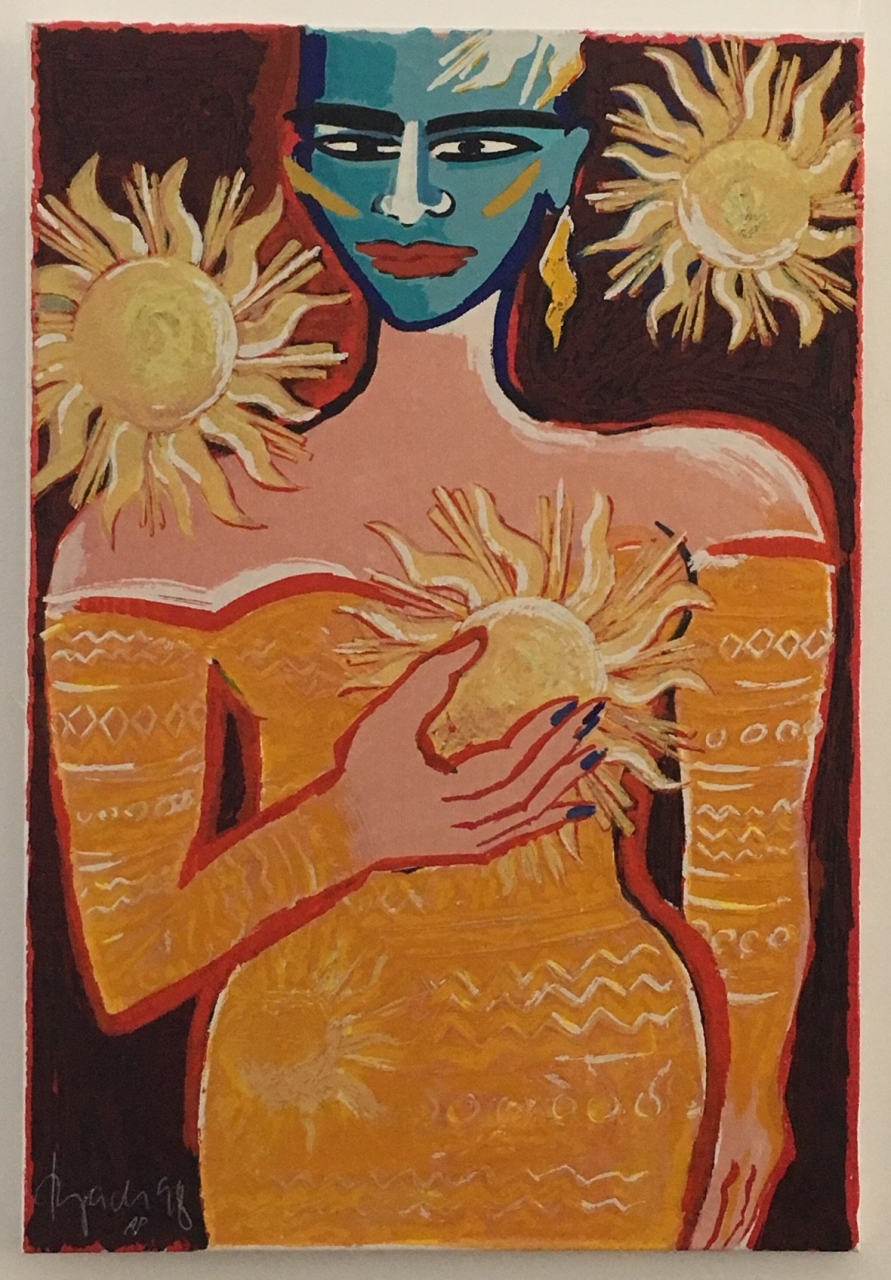 Earthly Paradise V (Frau mit Sonnen) auf Leinwand