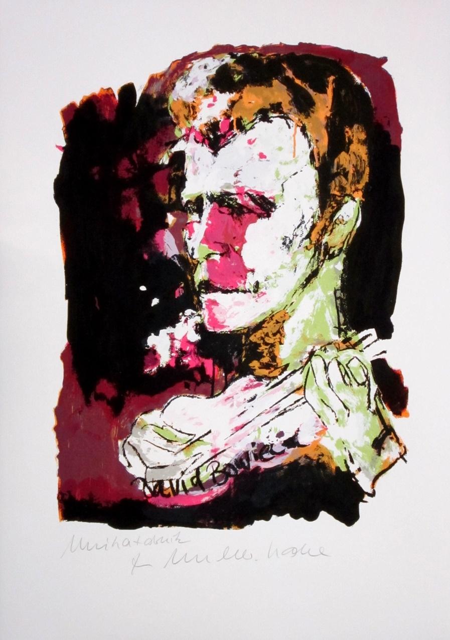 David Bowie - Unikatdruck - Variante bordeaux/pink/hellgrün