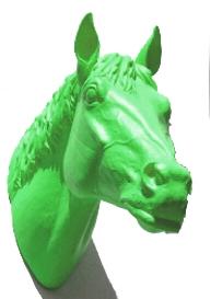 Pferdekopf - grün, signiert