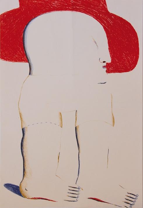 Figur mit rotem Hut