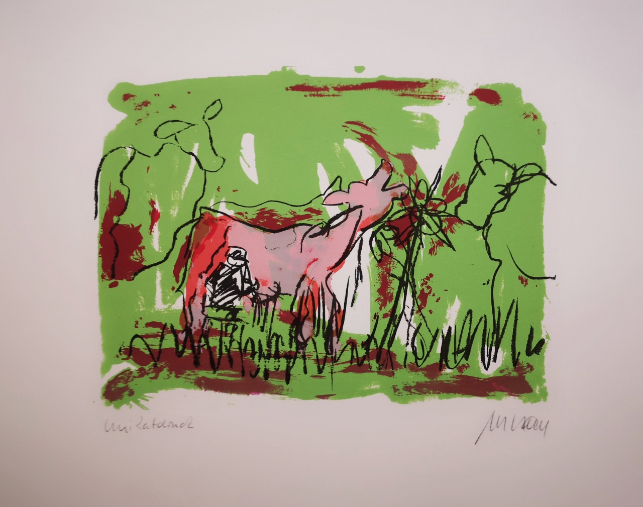 Sie kicherte beim Melken - Unikatdruck - No. IV - (Variante grün mit rosa Kuh)