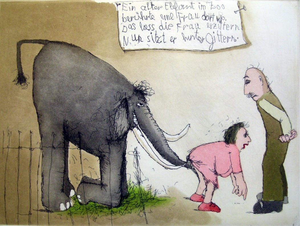 Ein alter Elefant im Zoo ...