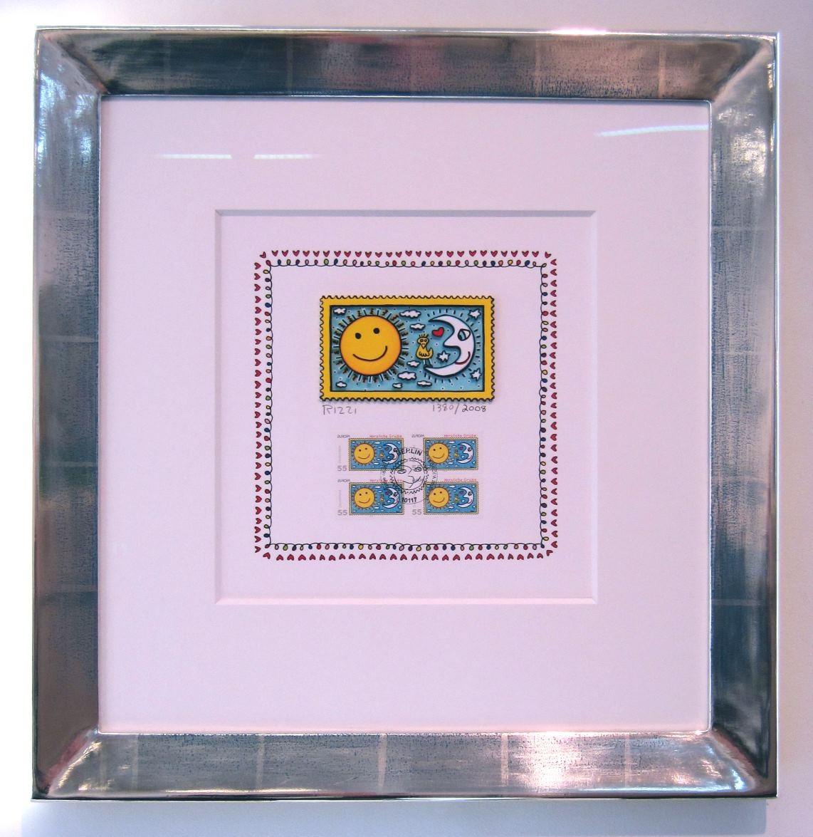 Herzliche Grüße (Briefmarke, Sonne), im Vergolderrahmen