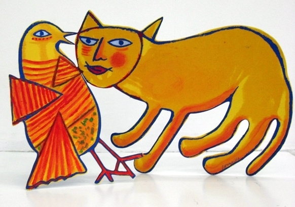 Yellow cat with a Bird