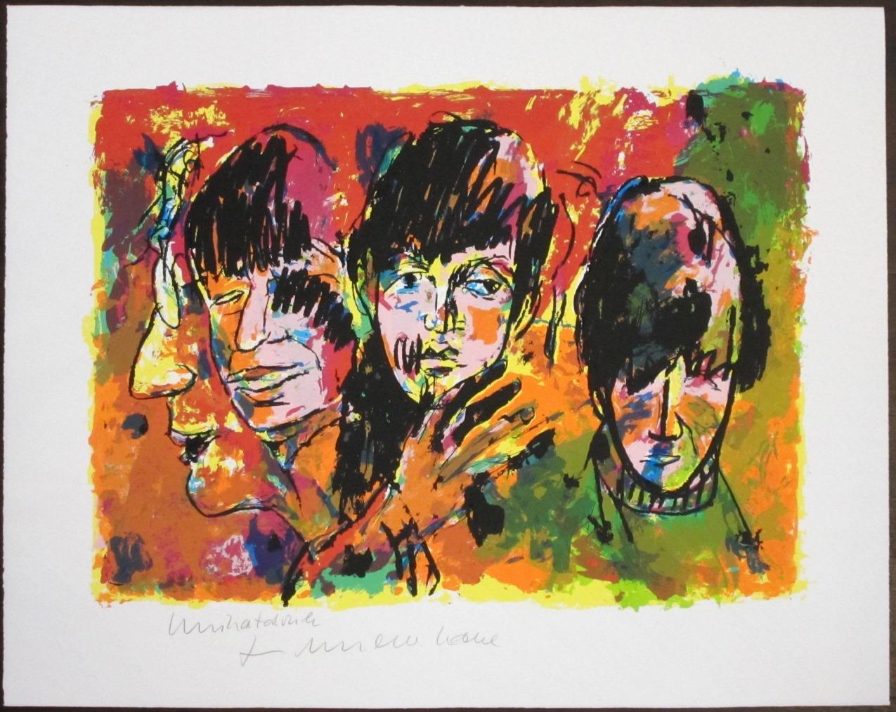 The Beatles - Unikatdruck - Variante rot/grün/orange