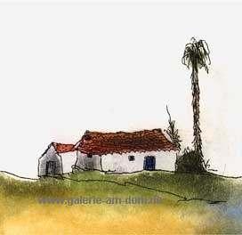 Zwei Häuser und eine Palme