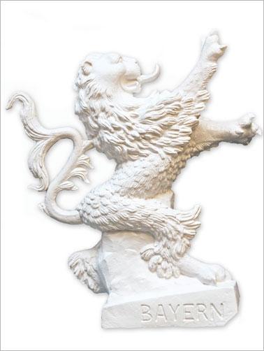Bayerischer Löwe - weiß, signiert