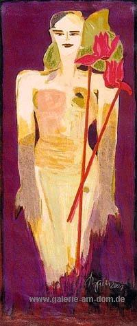 Frau mit Alpenveilchen (Cyclamen)