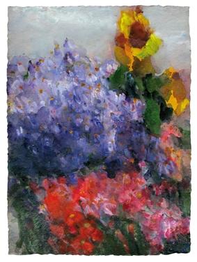 Garten mit Astern und Sonneblumen