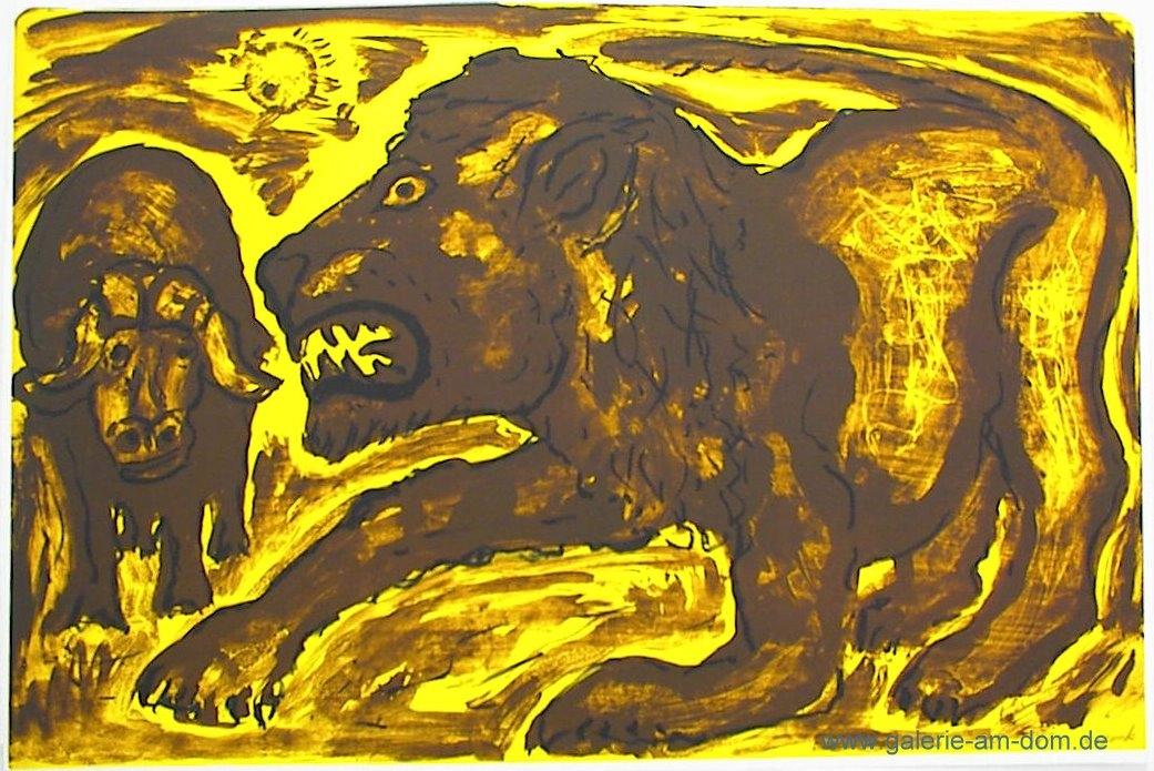 Löwe und Wasserbüffel