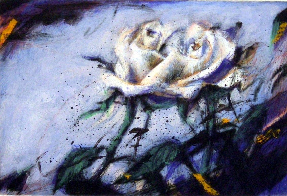 Rosen auf Blau