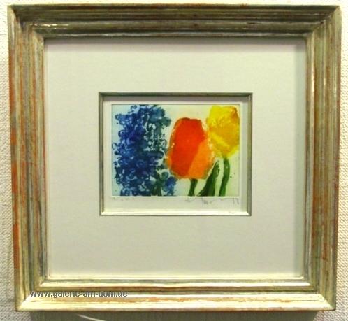 Vergissmeinnicht und Tulpen gerahmt