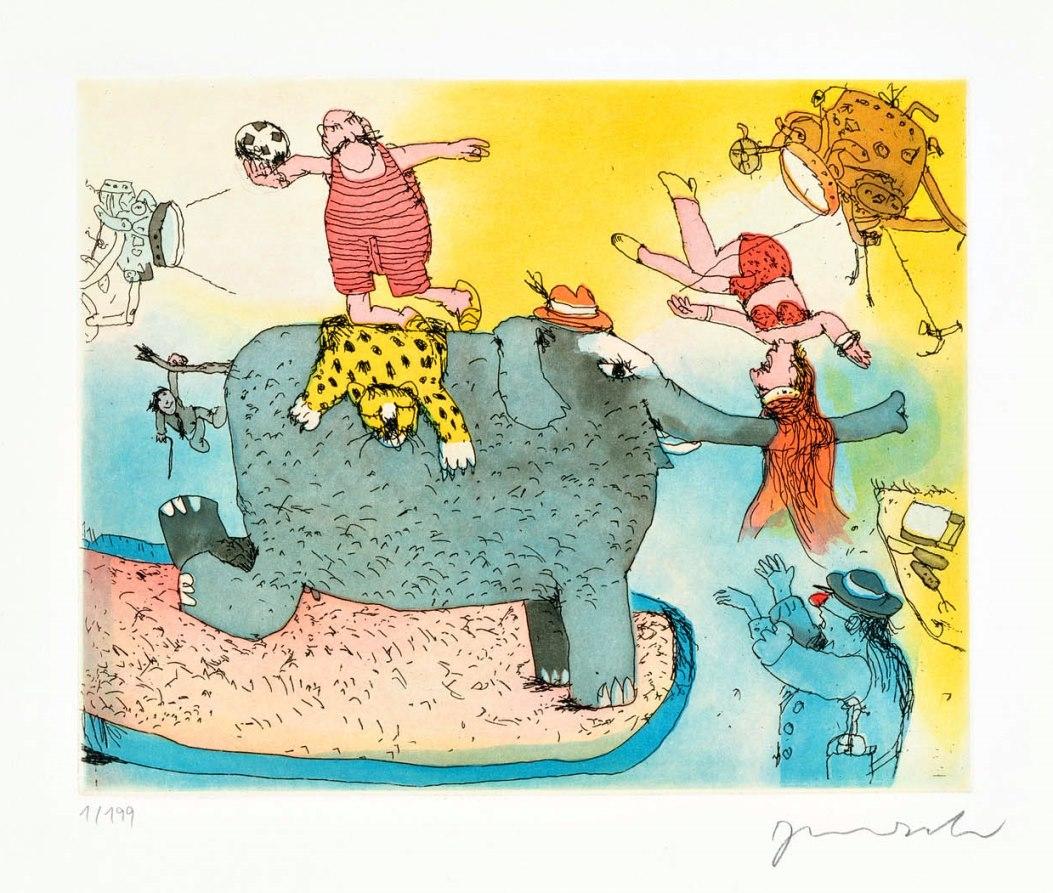 Der Elefant steht hier im Licht ...