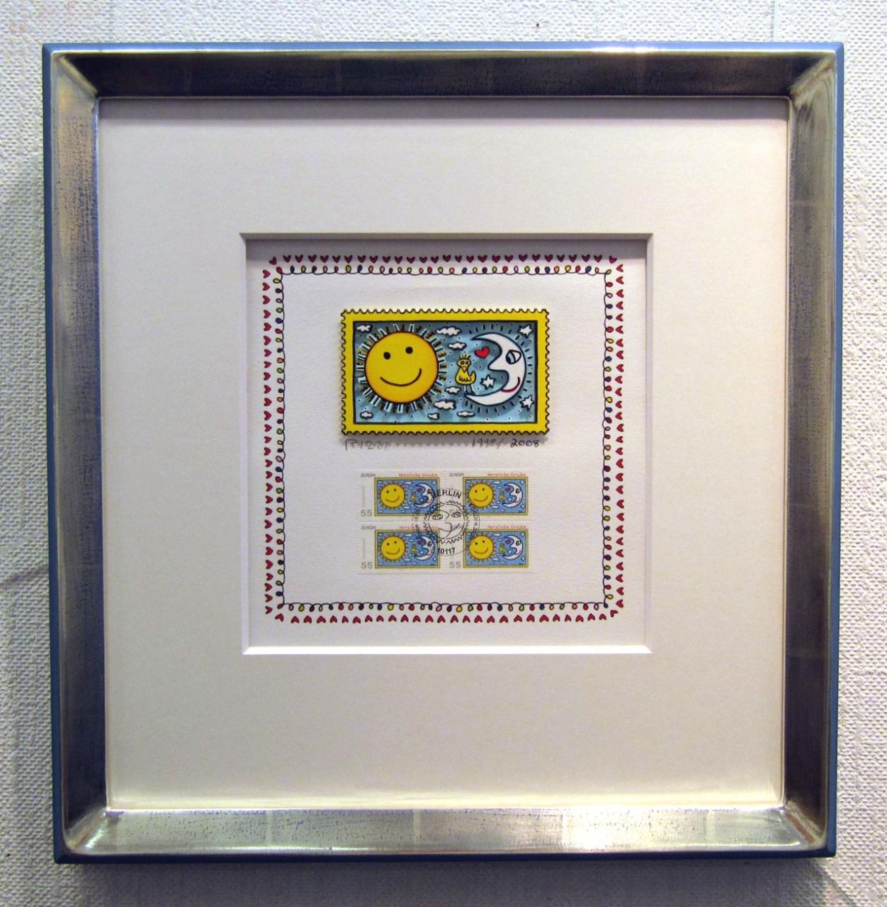 Herzliche Grüße (Briefmarke, Sonne), im Vergolderrahmen III