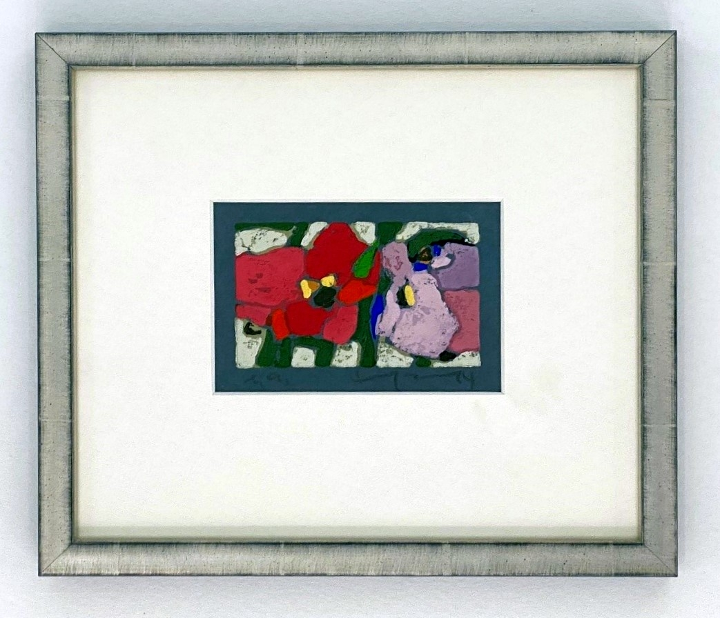 Rosen rot-lila, 2014 auf blauem Papier, gerahmt