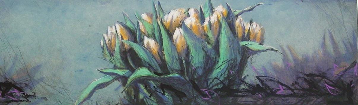 Tulpen auf Grün/Blau