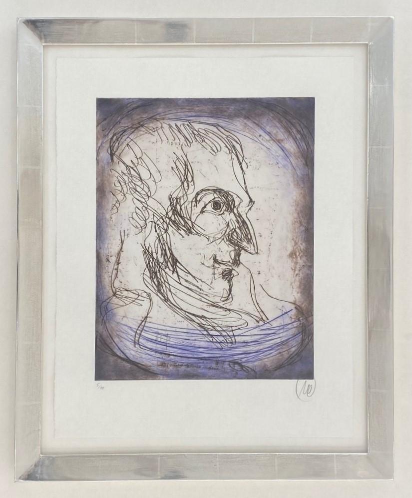 Friedrich Schiller - Variante blau - gerahmt