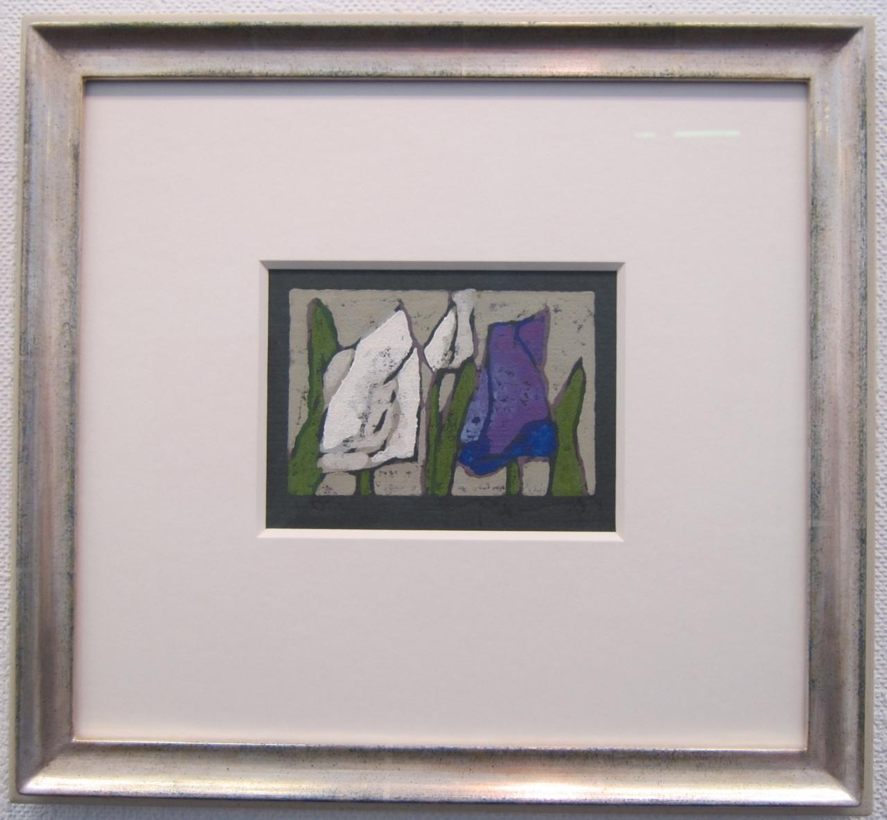Tulpen weiß und violett gerahmt in Echtsilber