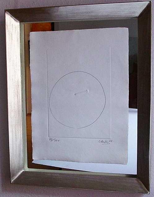 o.T. (umkreister Nagel) 2005, gerahmt