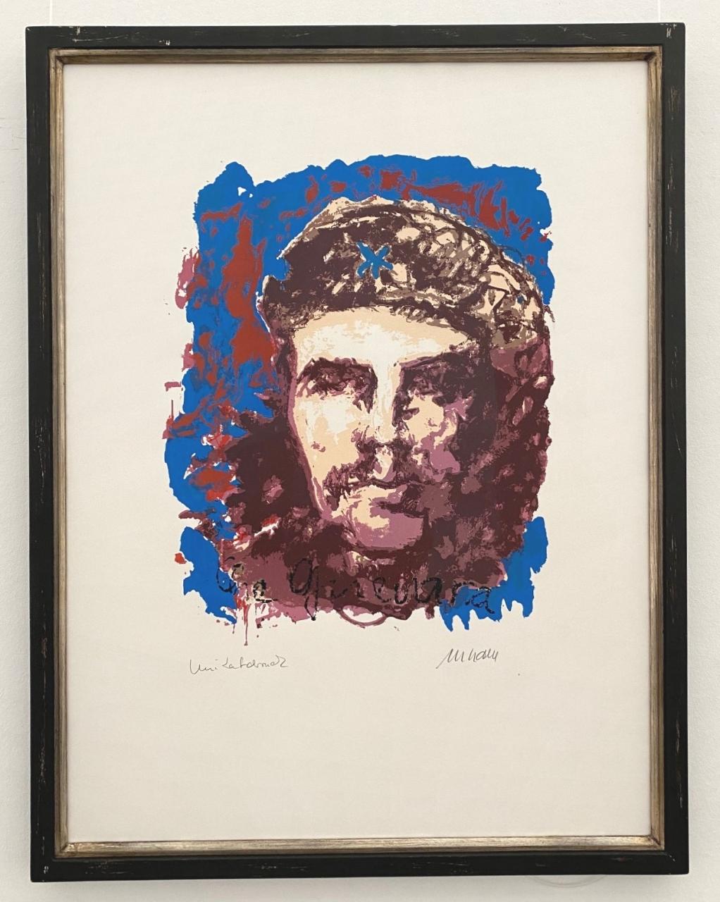 Che Guevara - Unikatdruck - No. 21 (Blau), gerahmt