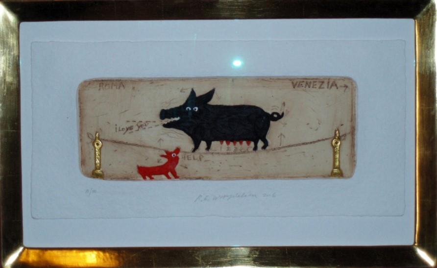 Roma Venezia Schwein, gerahmt