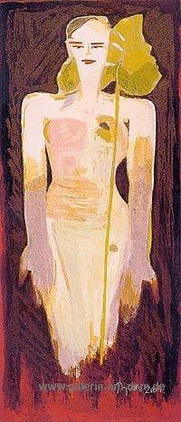 Frau mit grünem Blatt (Papyrus)