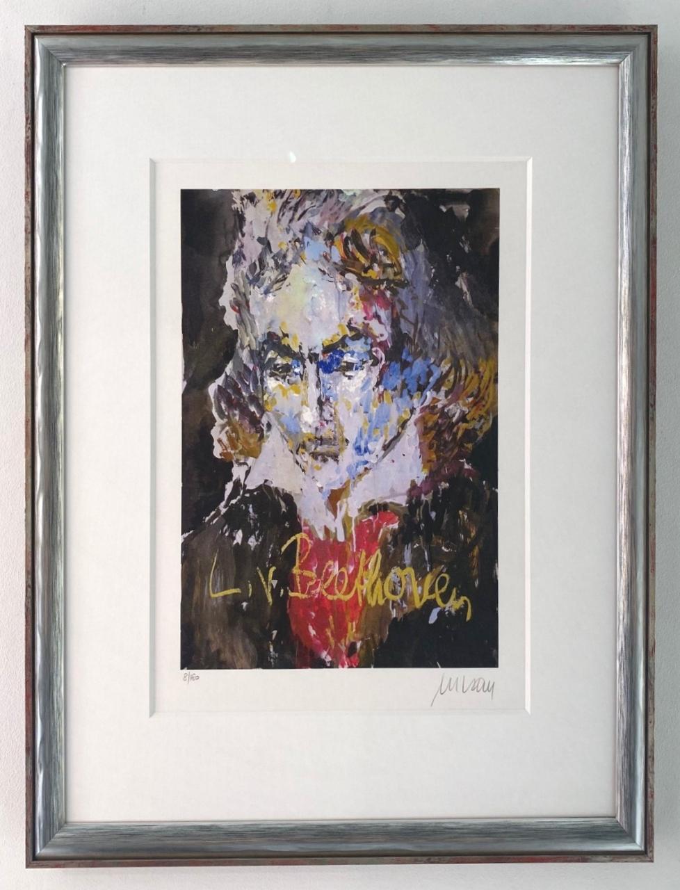 Ludwig van Beethoven, gerahmt (silber-blau)