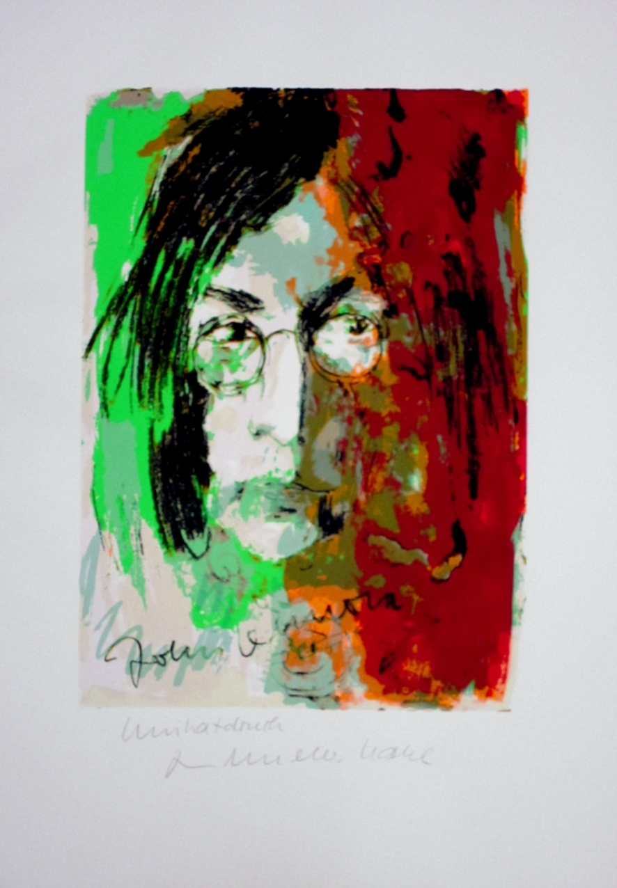 John Lennon - Unikatdruck - Variante grün/olive/rot