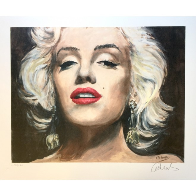 Golden Earrings - Marilyn Monroe auf Leinwand