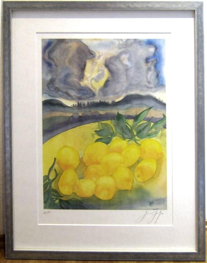 Zitronen unter Wolken, gerahmt