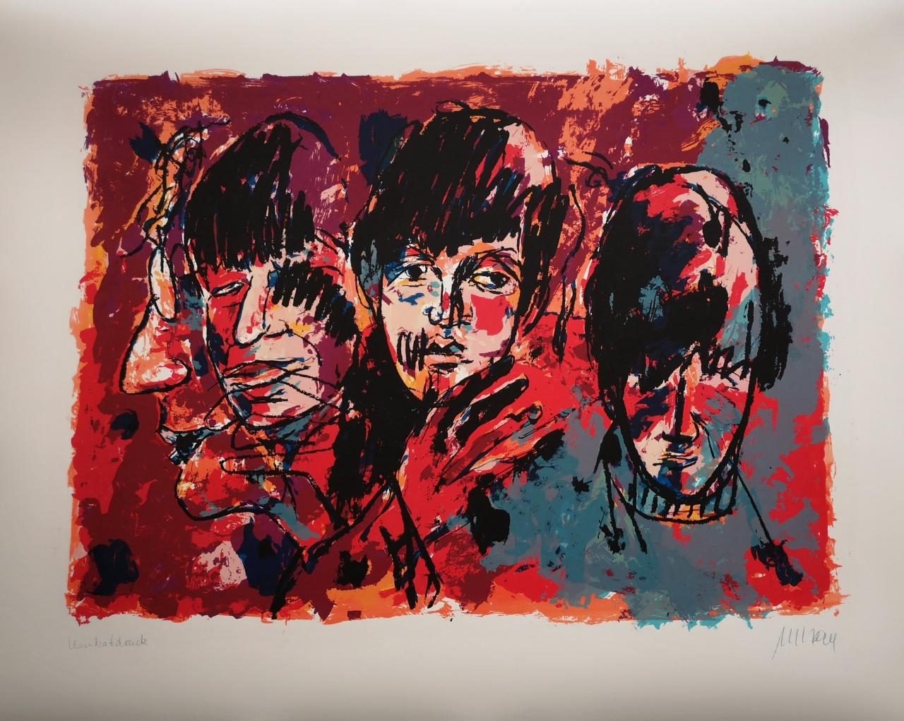 The Beatles - Unikatdruck - No. XIV - Variante Rot-Orange-Taubenblau