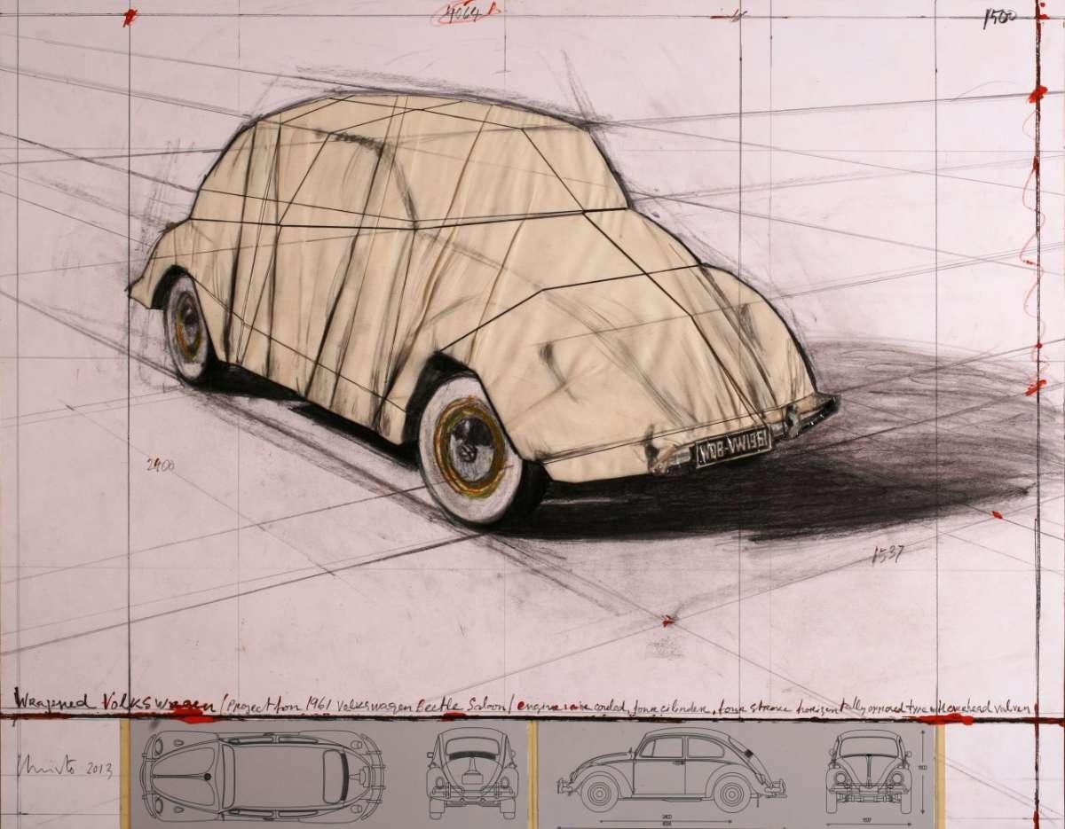 Wrapped Volkswagen, gerahmt im Plexikasten