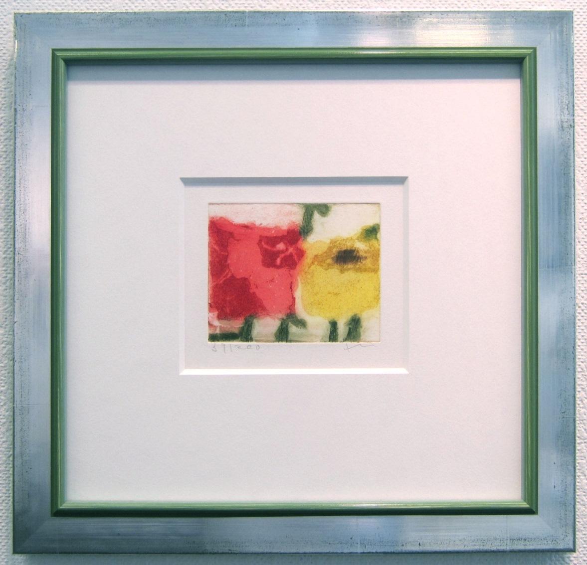 Rosen rot/gelb, gerahmt silber