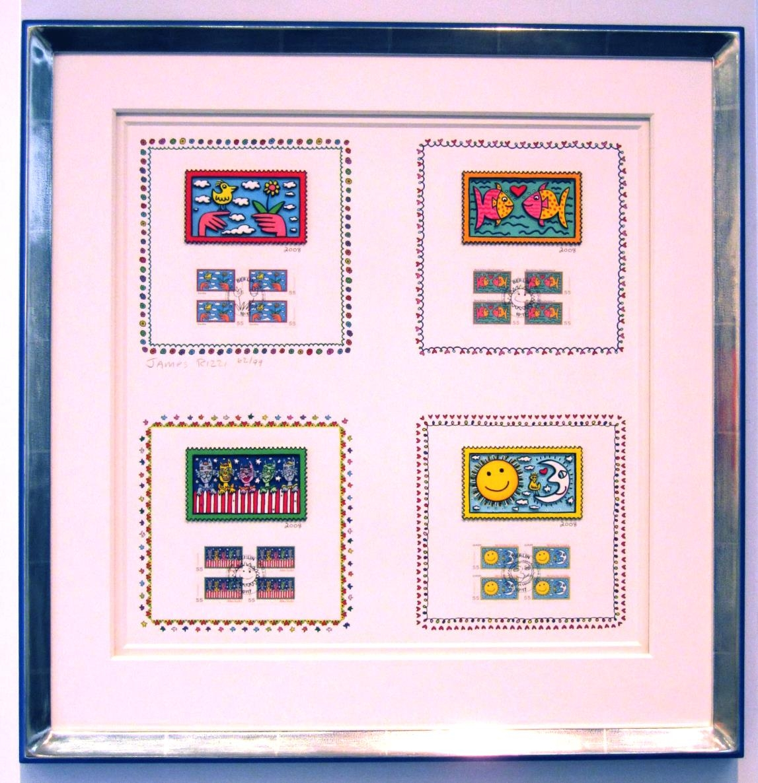 Briefmarken Deluxe Ausgabe, im Vergolderrahmen blau