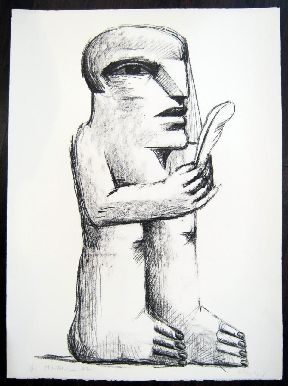 Stehende Figur mit Feder