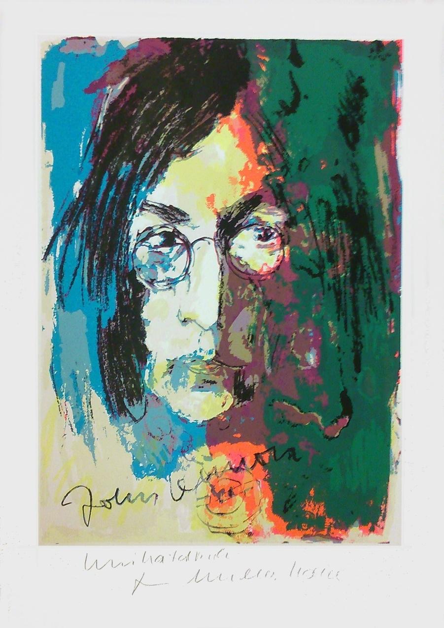John Lennon - Unikatdruck - Variante türkis/orange/grün