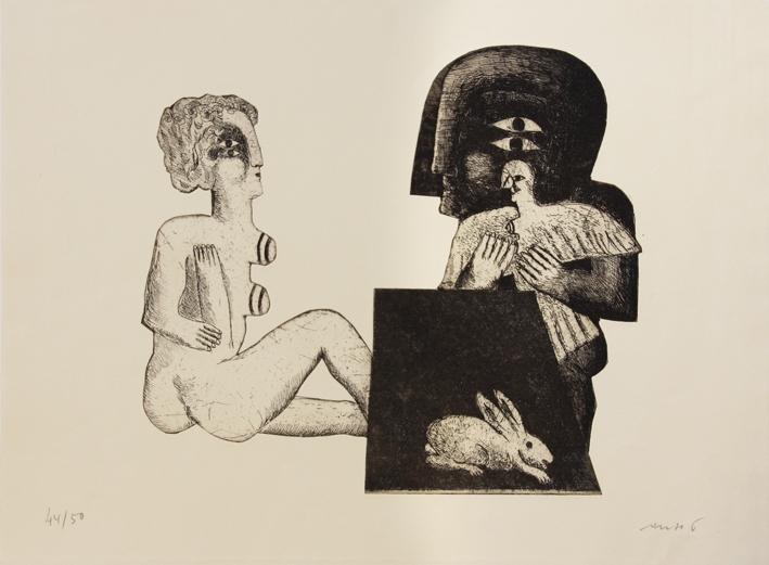 Sitzende weibliche Figur, männliche Figur mit Vogel, Hase und Nebenfiguren