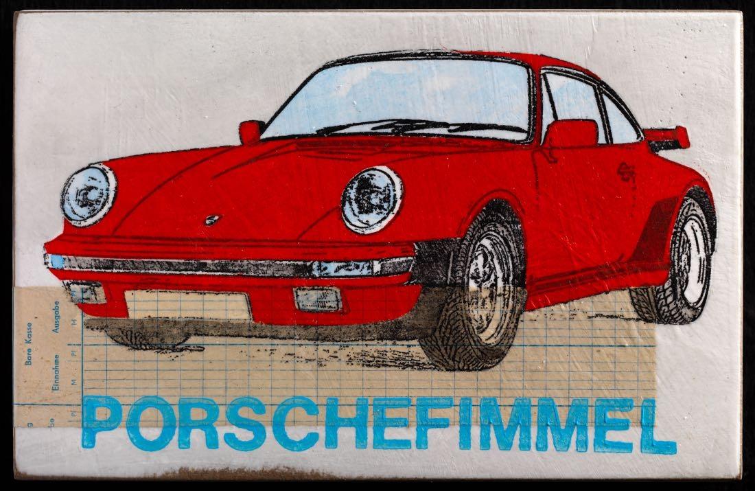 Porschefimmel - Turbo mittelrot-hellblau
