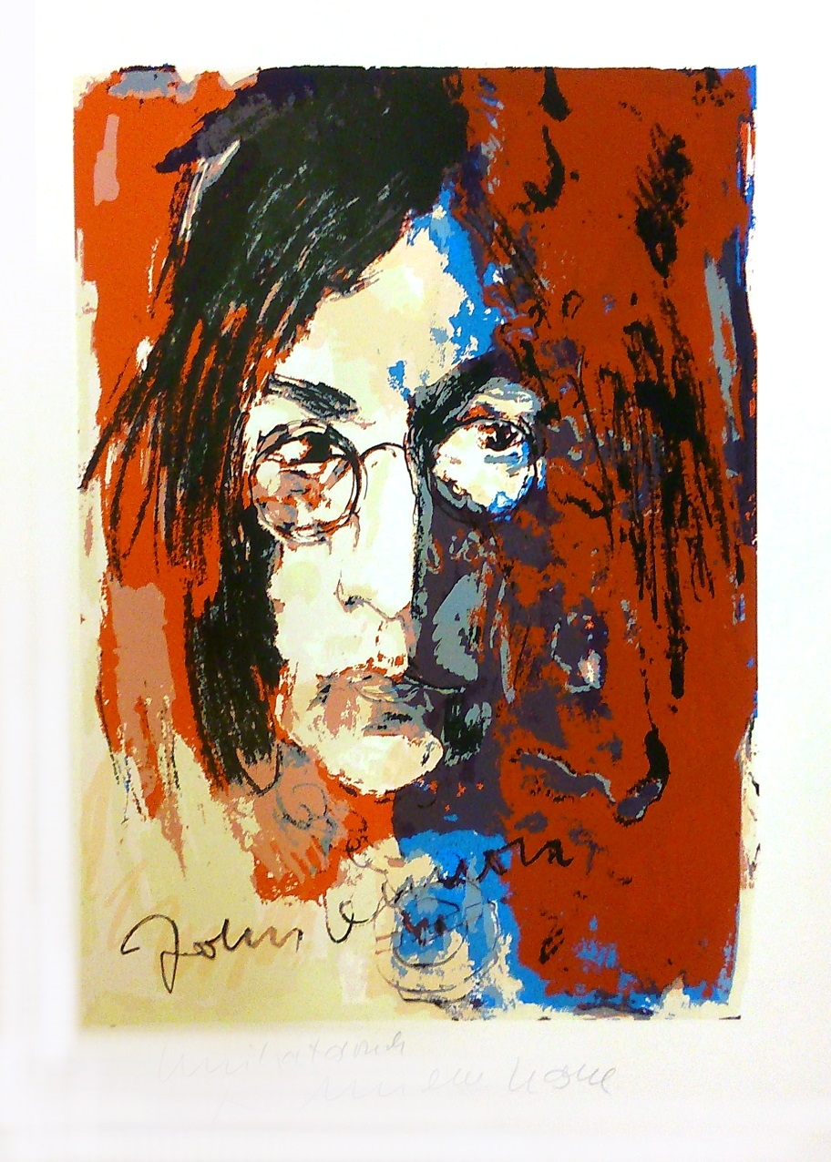 John Lennon - Unikatdruck - Variante orange/blau/rost