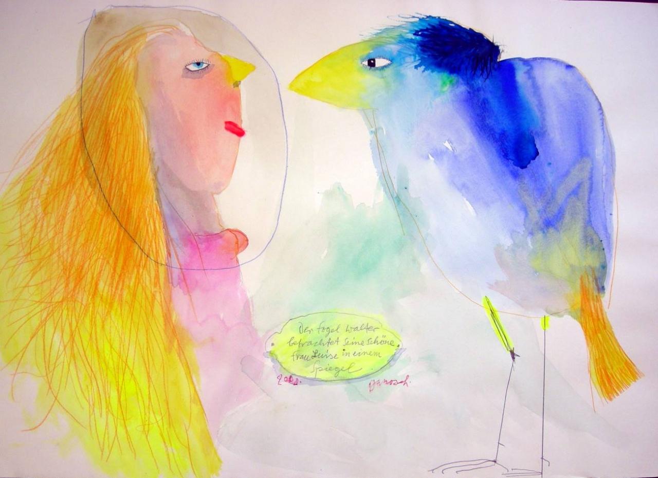 Der Vogel Walter betrachtet seine schöne Frau Luise...