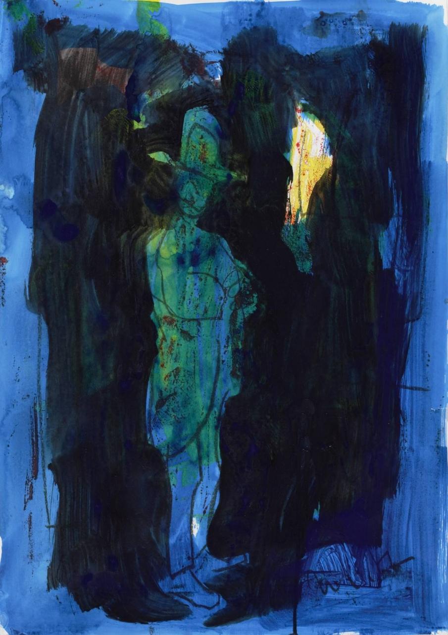 o.T. 2007 (Figur mit Hut vor Blau)