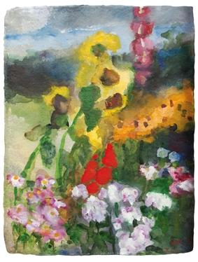 Garten mit Sonnenblumen/Malven/Gladiolen ...