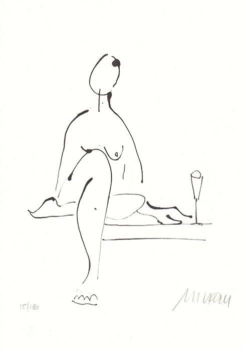 Akt mit Weinglas