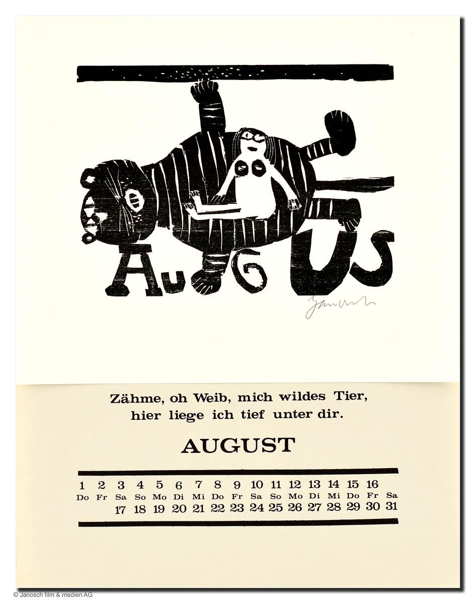 Holzschnittkalender August