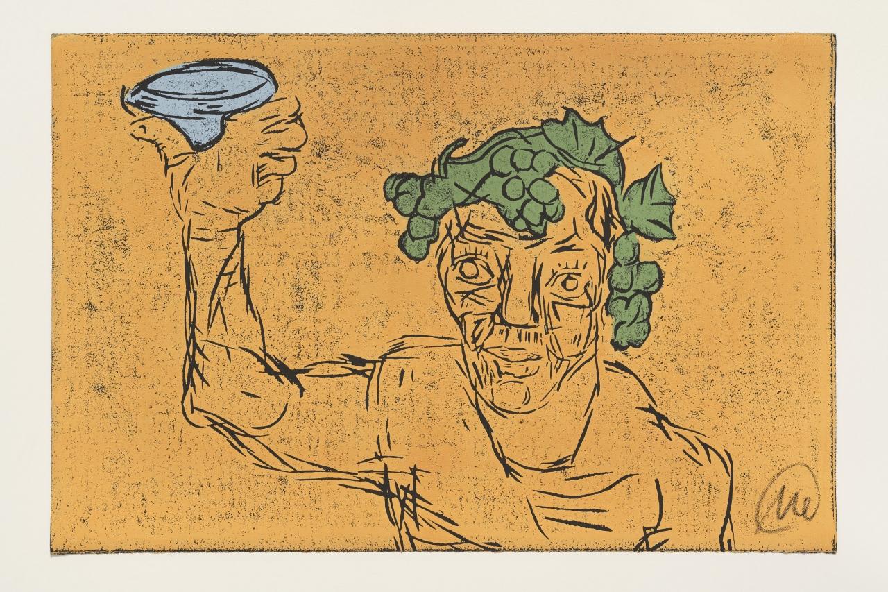 Kopf des Dionysos (Ausschnitt orange)
