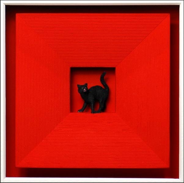 Cat in red