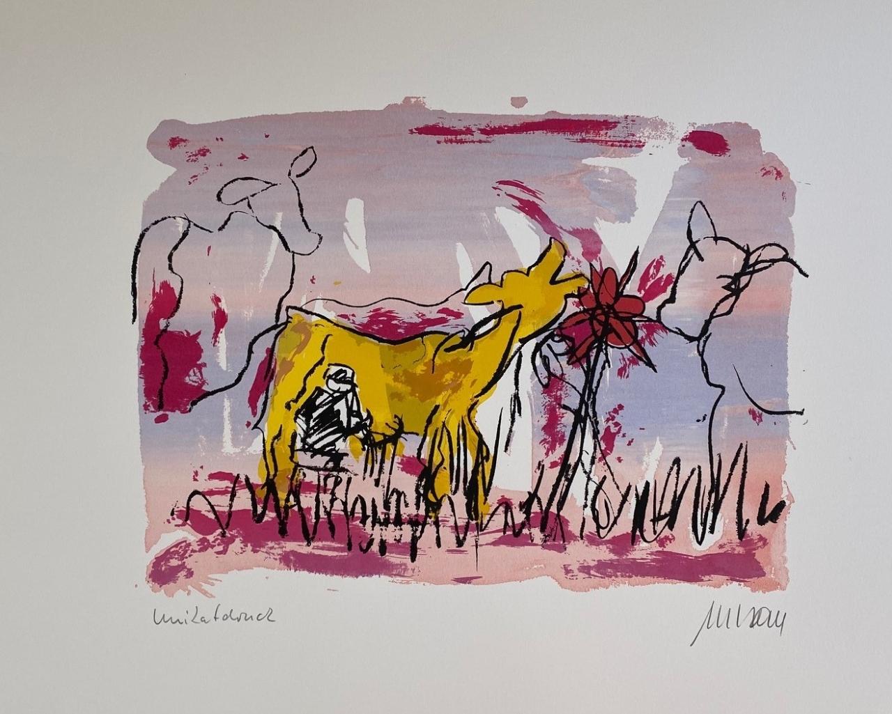Sie kicherte beim Melken - Unikatdruck - No. VII - (Variante rosa mit gelber Kuh)